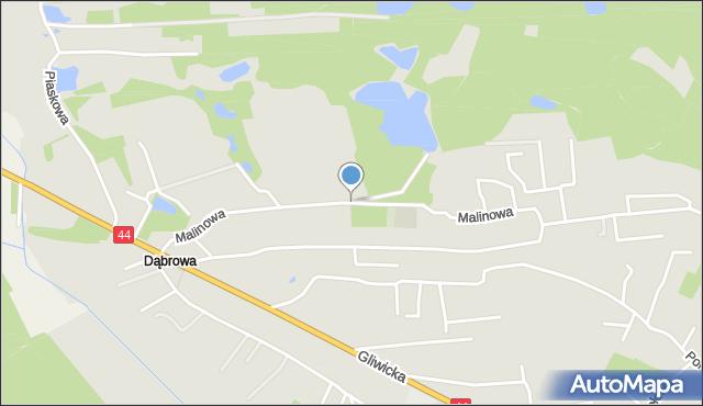 Mikołów, Malinowa, mapa Mikołów