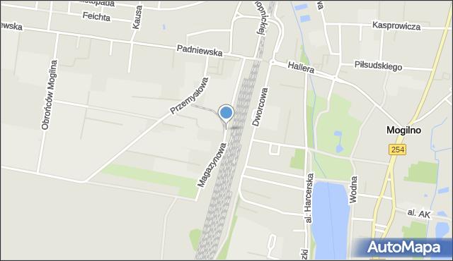 Mogilno, Magazynowa, mapa Mogilno