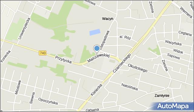 Radom, Malczewskiej Wandy, mapa Radomia