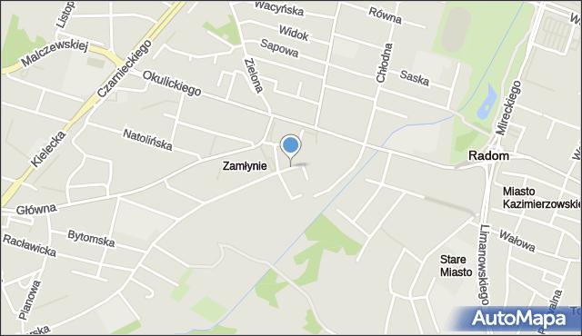 Radom, Malinowa, mapa Radomia