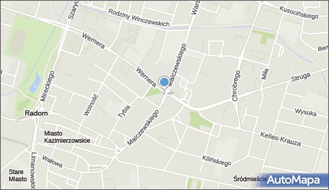 Radom, Malczewskiego Jacka, mapa Radomia