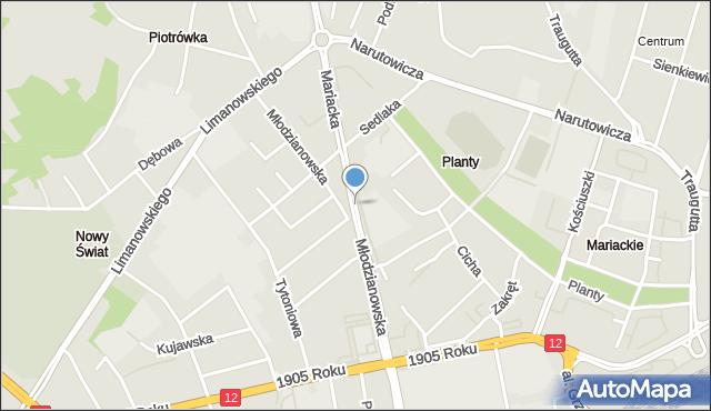 Radom, Mariacka, mapa Radomia