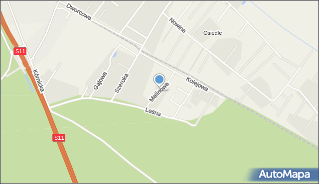 Robakowo gmina Kórnik, Malinowa, mapa Robakowo gmina Kórnik