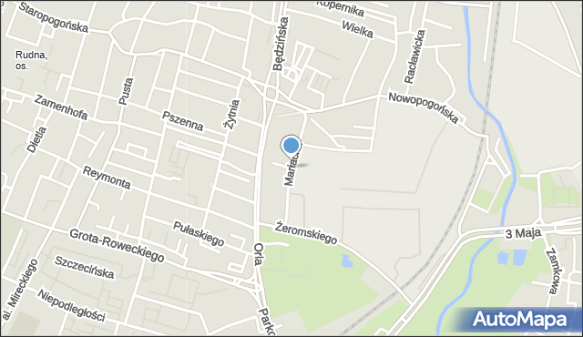 Sosnowiec, Mariacka, mapa Sosnowca