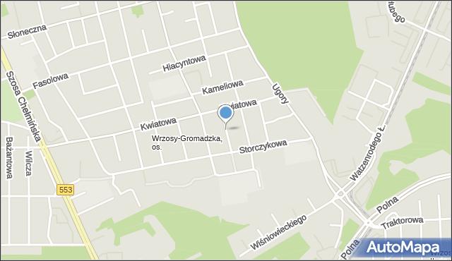 Toruń, Malwowa, mapa Torunia