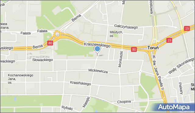 Toruń, Matejki Jana, mapa Torunia