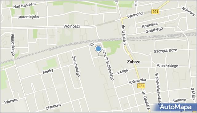 Zabrze, Malczewskiego Jacka, mapa Zabrza