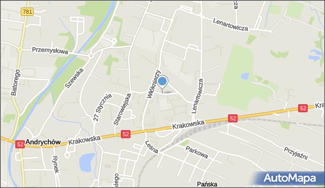 Andrychów, Metalowców, mapa Andrychów
