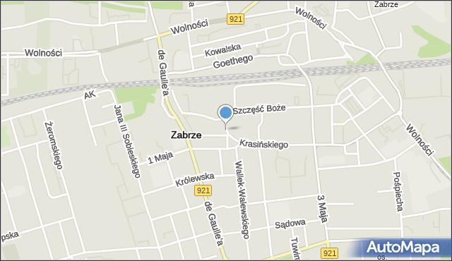 Zabrze, Mehoffera Józefa, mapa Zabrza