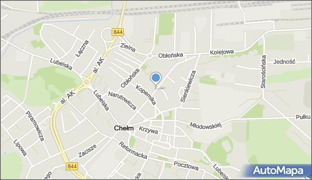 Chełm, Mickiewicza Adama, mapa Chełma