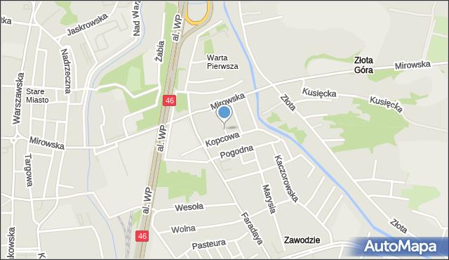 Częstochowa, Mierna, mapa Częstochowy