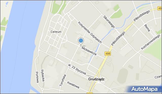 Grudziądz, Mickiewicza Adama, mapa Grudziądza