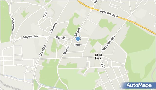 Jaworzno, Miła, mapa Jaworzno