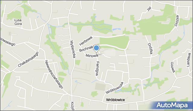 Kraków, Mirtowa, mapa Krakowa
