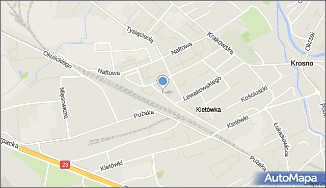 Krosno, Mielczarskiego Romualda, mapa Krosna