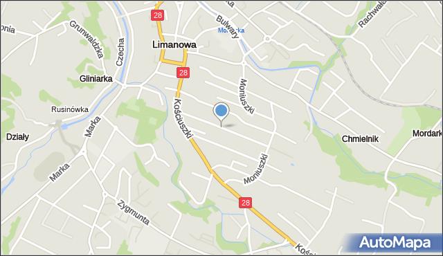 Limanowa, Mickiewicza Adama, mapa Limanowa