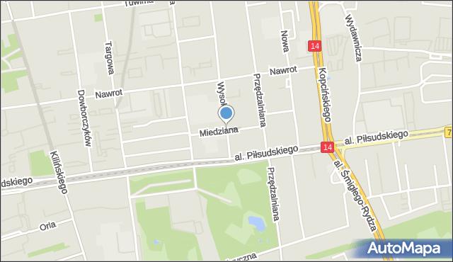 Łódź, Miedziana, mapa Łodzi
