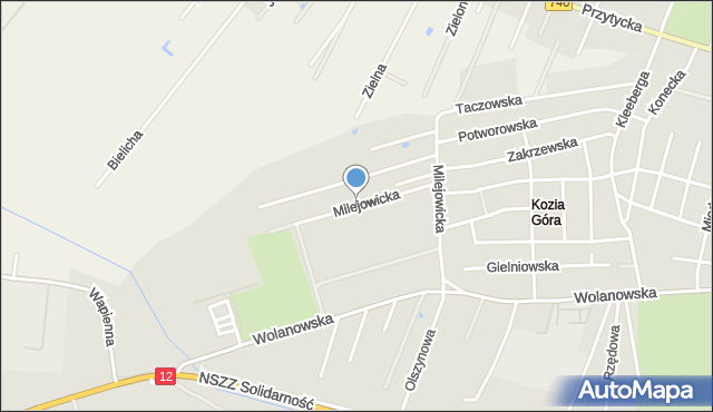Radom, Milejowicka, mapa Radomia