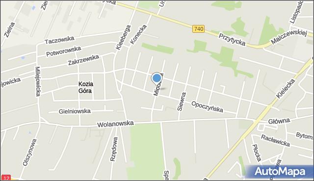 Radom, Miodowa, mapa Radomia