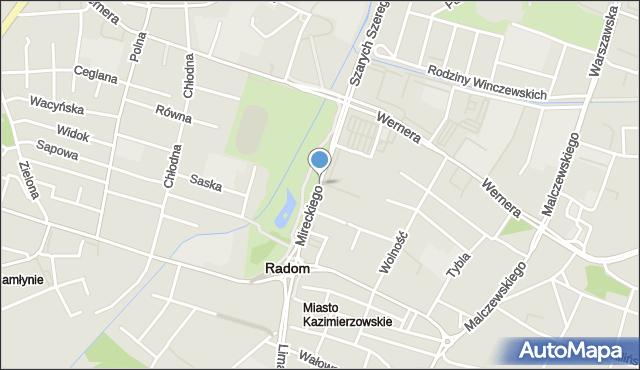 Radom, Mireckiego Józefa, mapa Radomia