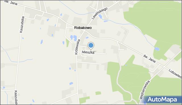 Robakowo gmina Luzino, Mieszka, mapa Robakowo gmina Luzino