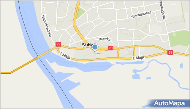 Słubice, Mirosławskiego, mapa Słubice