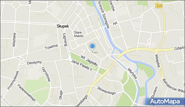 Słupsk, Mikołajska, mapa Słupska