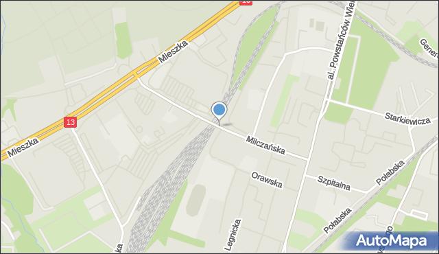 Szczecin, Milczańska, mapa Szczecina