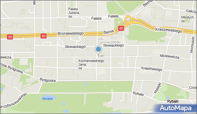 Toruń, Mickiewicza Adama, mapa Torunia