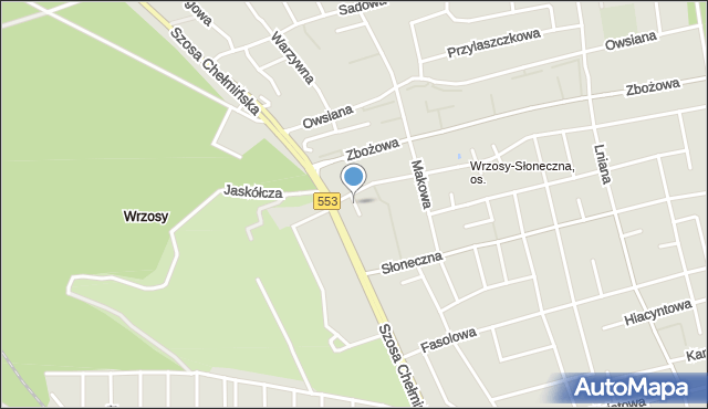 Toruń, Miedza, mapa Torunia