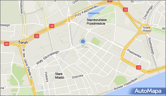 Toruń, Międzymurze, mapa Torunia