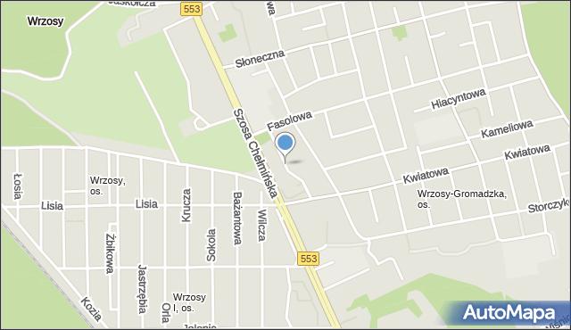Toruń, Migdałowa, mapa Torunia