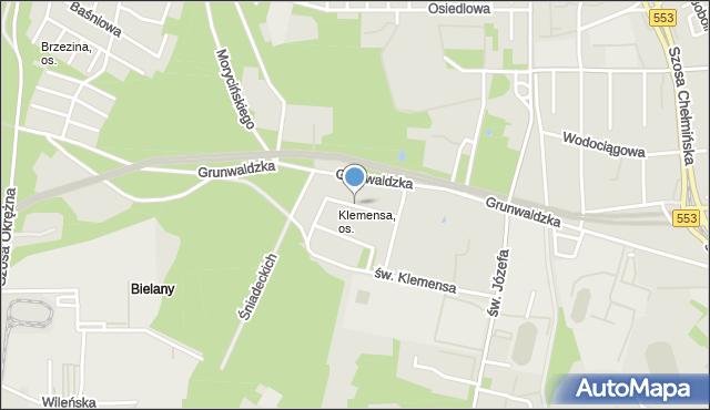 Toruń, Miła, mapa Torunia