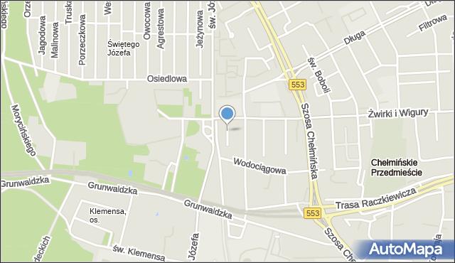 Toruń, Mireckiego Józefa, mapa Torunia