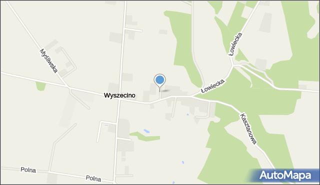 Wyszecino, Miła, mapa Wyszecino