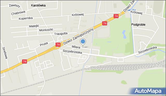 Zamość, Milera Stefana, mapa Zamościa