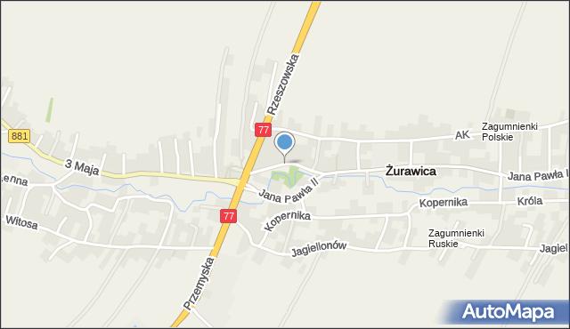 Żurawica powiat przemyski, Mickiewicza Adama, mapa Żurawica powiat przemyski