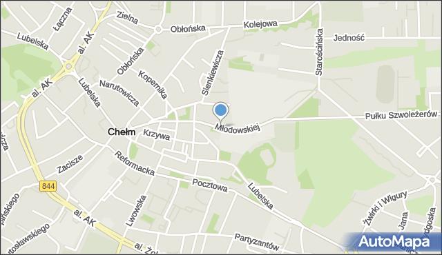 Chełm, Młodowskiej Jadwigi, mapa Chełma