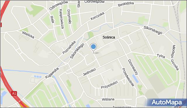 Gliwice, Młodzieżowa, mapa Gliwic