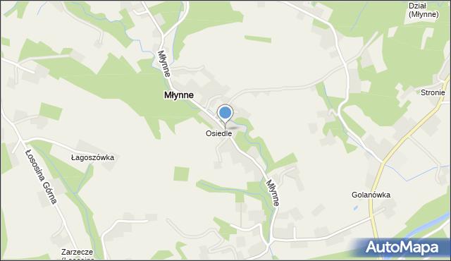 Młynne, Młynne, mapa Młynne