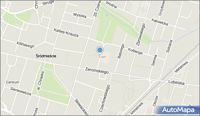 Radom, Młynarska, mapa Radomia