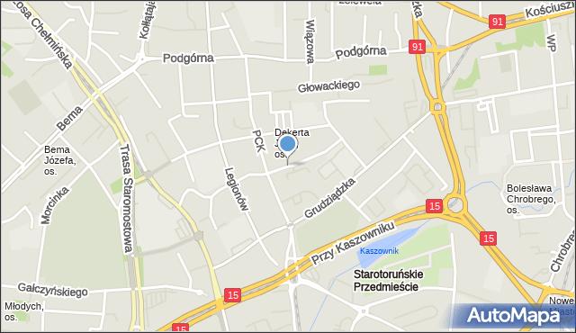 Toruń, Młodzieżowa, mapa Torunia