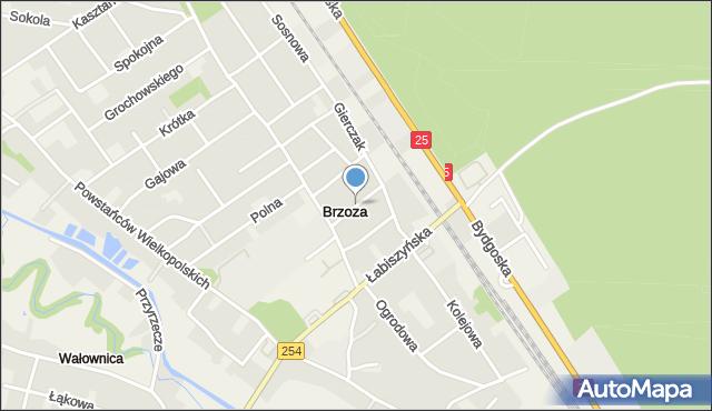 Brzoza gmina Nowa Wieś Wielka, Modrakowa, mapa Brzoza gmina Nowa Wieś Wielka