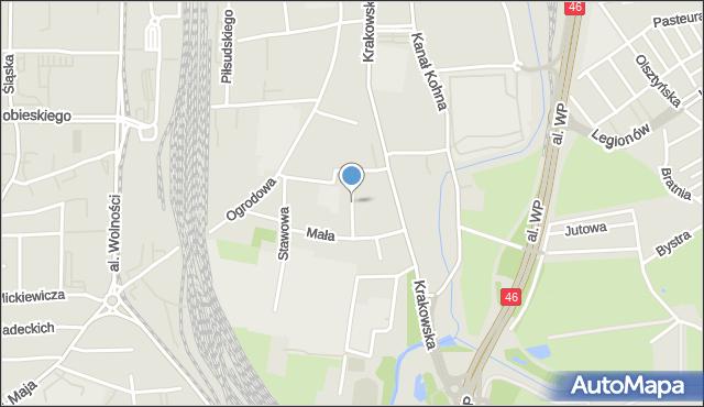 Częstochowa, Mokra, mapa Częstochowy