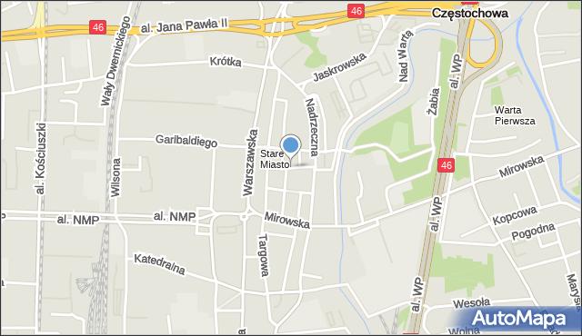 Częstochowa, Mostowa, mapa Częstochowy