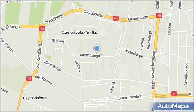 Częstochowa, Mościckiego Ignacego, mapa Częstochowy