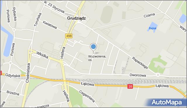 Grudziądz, Moniuszki Stanisława, mapa Grudziądza