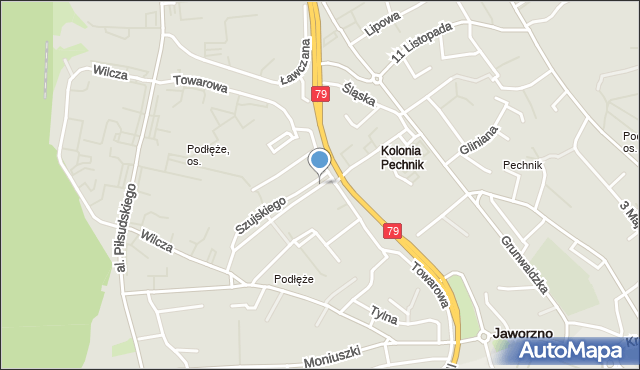 Jaworzno, Mostowa, mapa Jaworzno