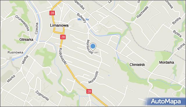 Limanowa, Moniuszki Stanisława, mapa Limanowa