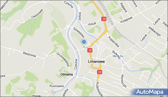 Limanowa, Mordarskiego Mieczysława, mapa Limanowa